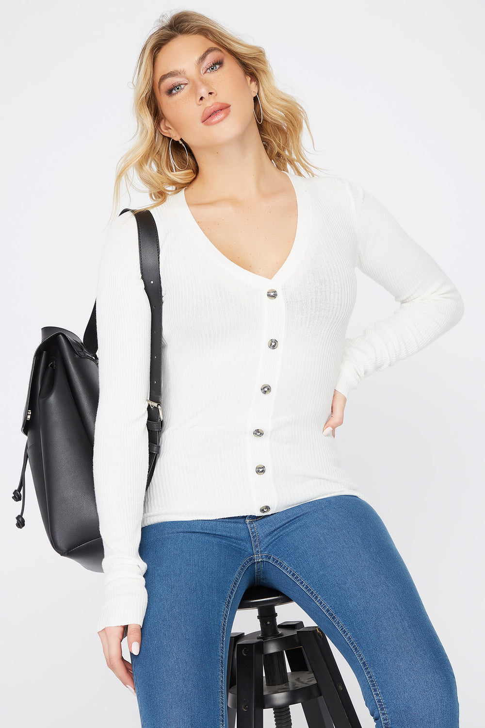 Ribbed V-Neck Button Long Sleeve White