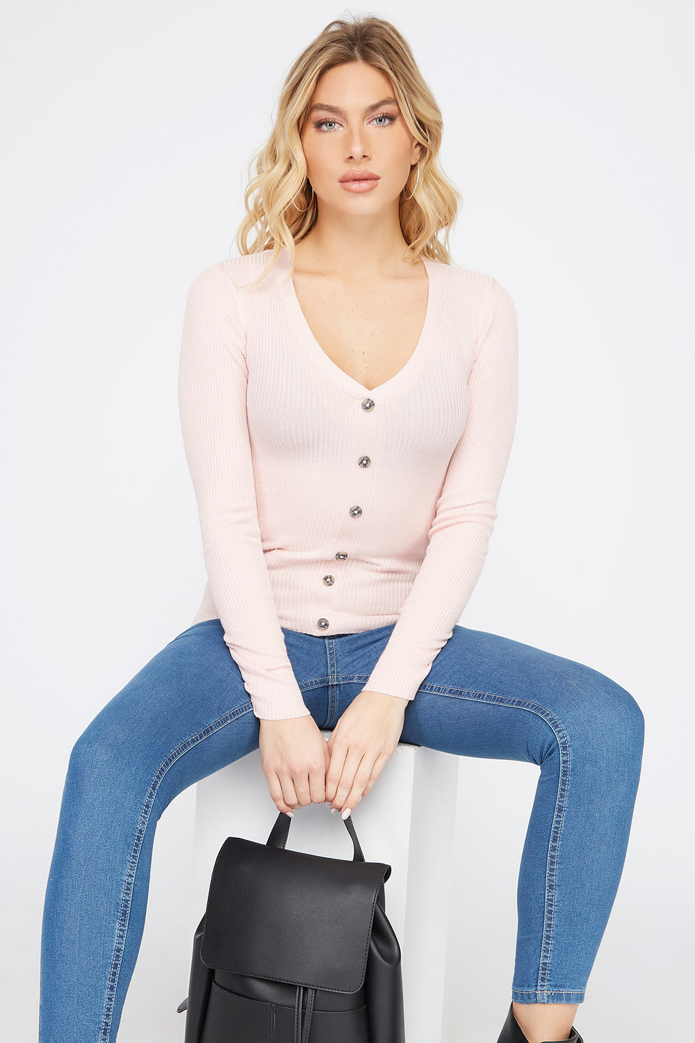 Ribbed V-Neck Button Long Sleeve Light Pink