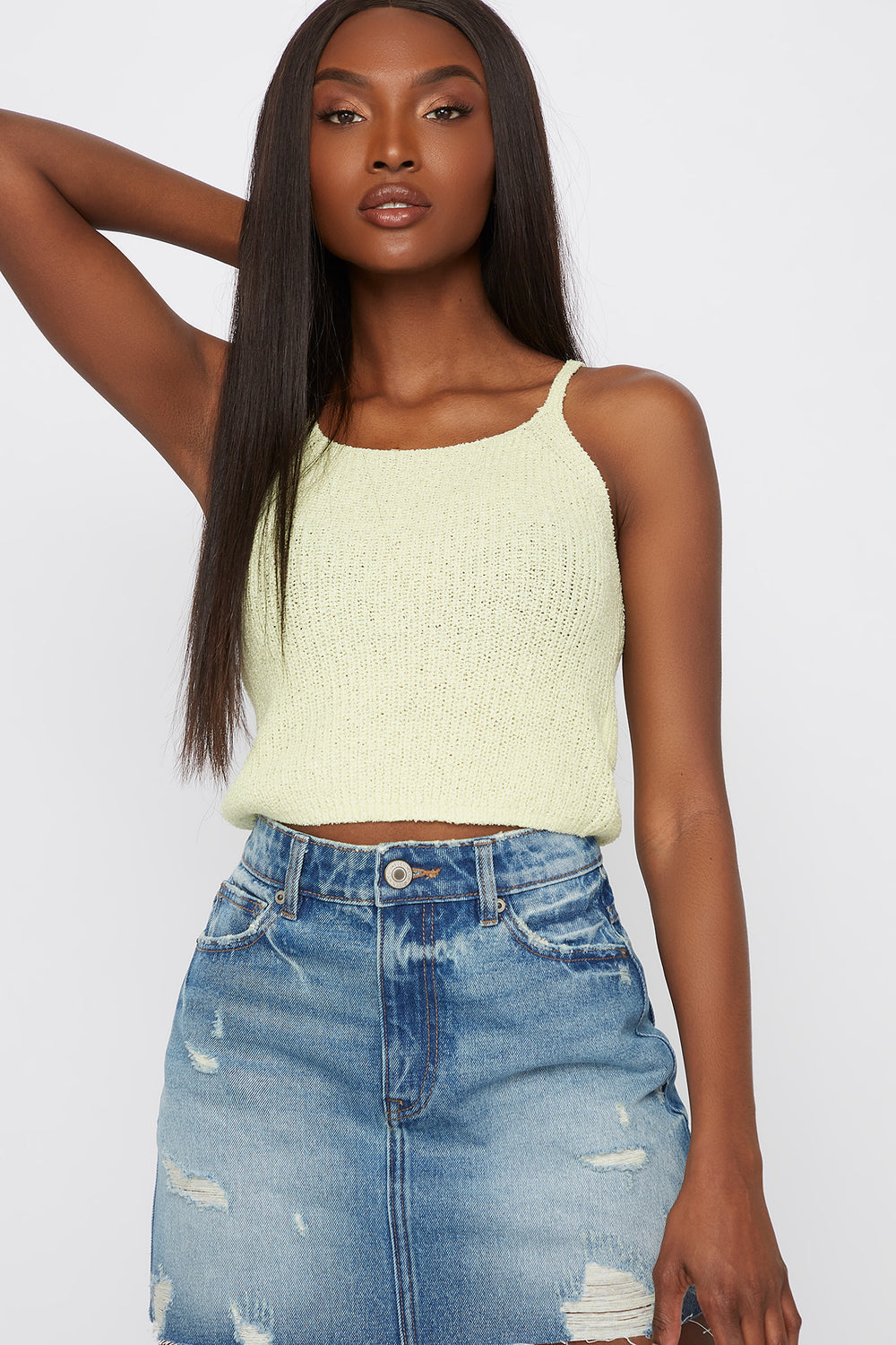 Knit Cropped Scoop Neck Tank Neon Yellow