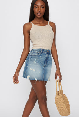 Knit Cropped Scoop Neck Tank
