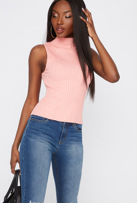 Ribbed Mock Neck Sleeveless Top