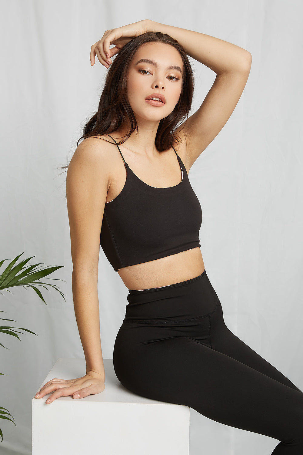 REPREVE® Eco-Friendly Recycled Polyester Reversable Cropped Active Tank Black