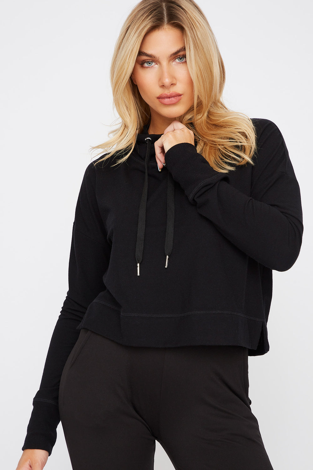 Hooded Drawstring Active Long Sleeve Black