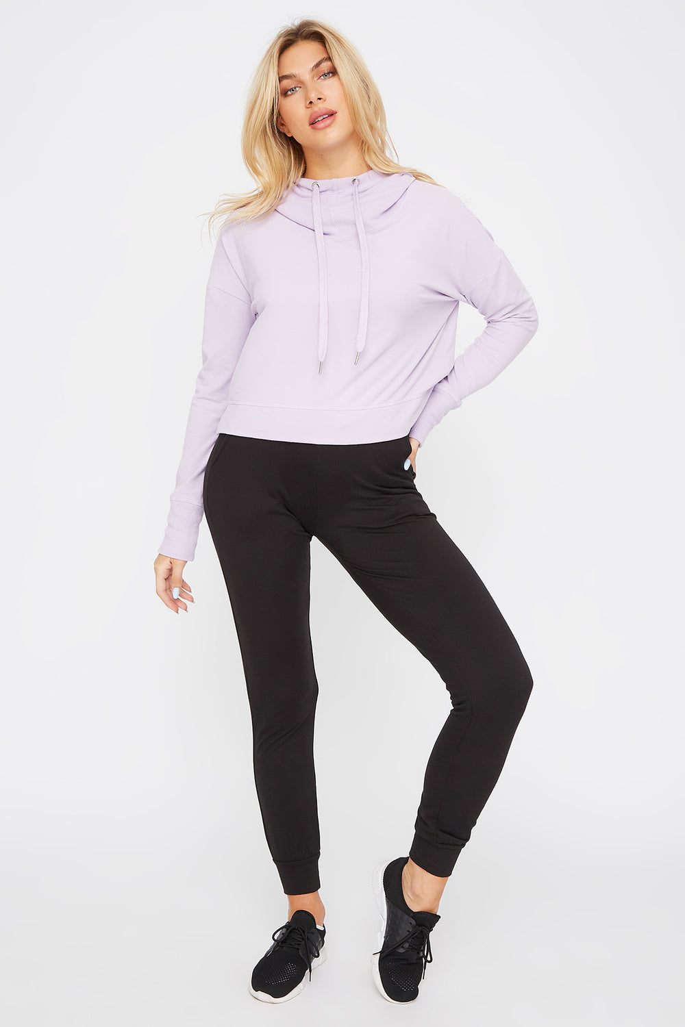 Hooded Drawstring Active Long Sleeve Lilac