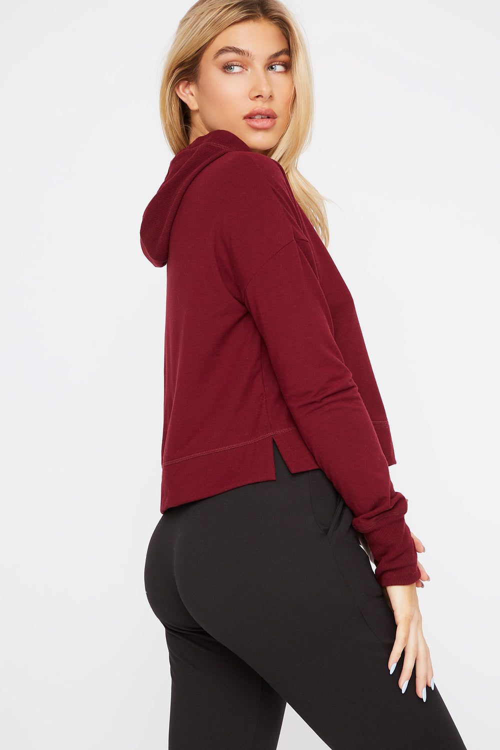Hooded Drawstring Active Long Sleeve Dark Red