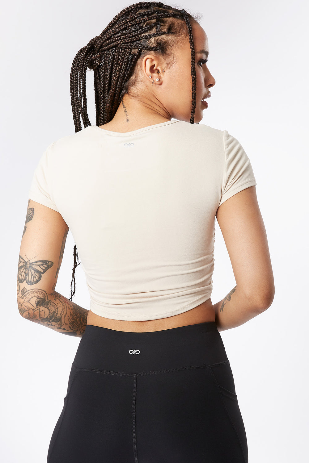 Soft Cinched Side Active Cropped Top Cream