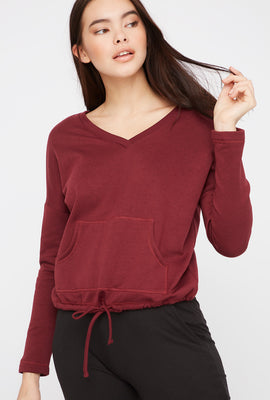 Double V-Neck Fleece Sweater