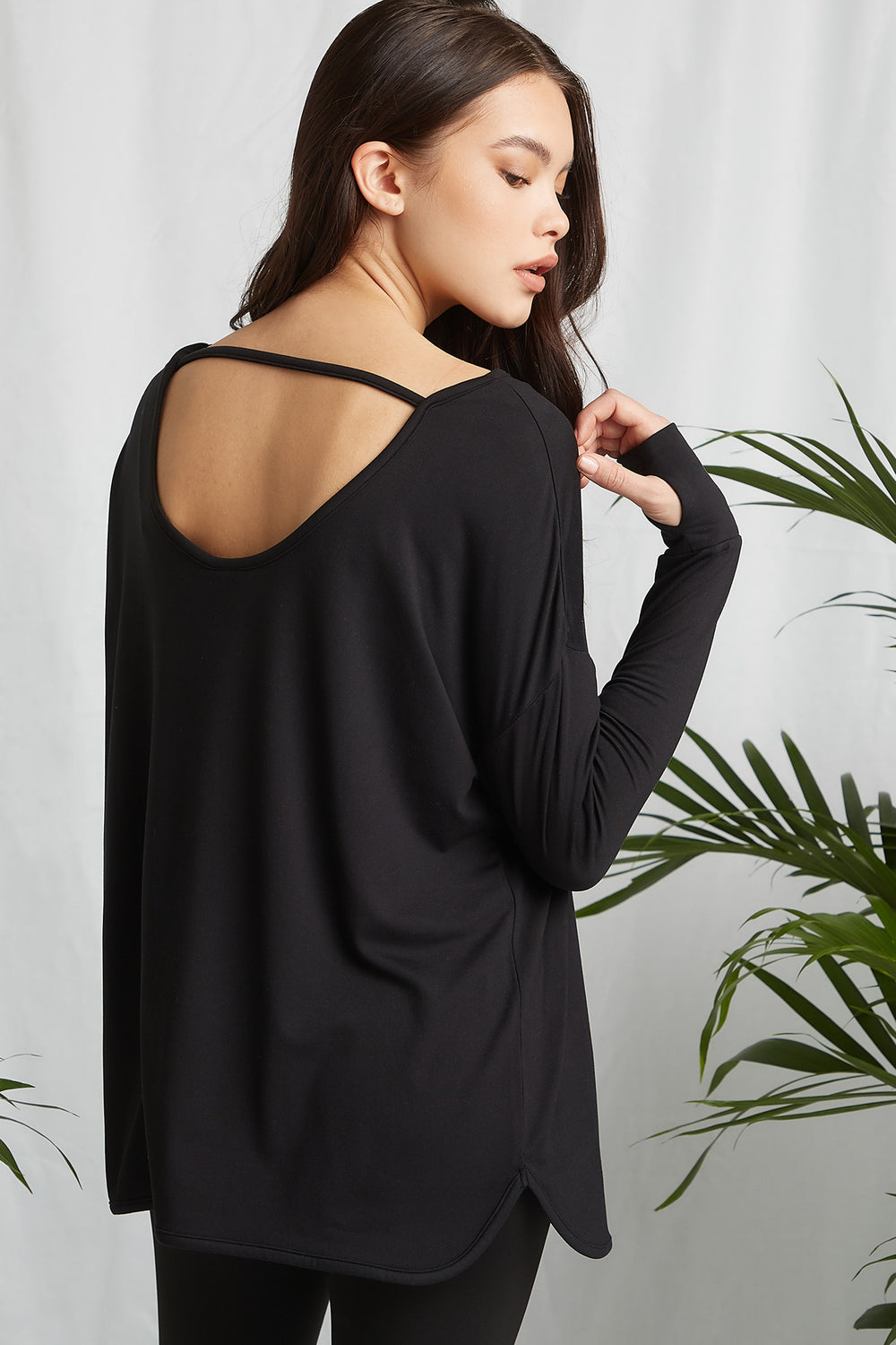 REPREVE®Eco-Friendly Recycled Polyester Keyhole Back Active Long Sleeve Black