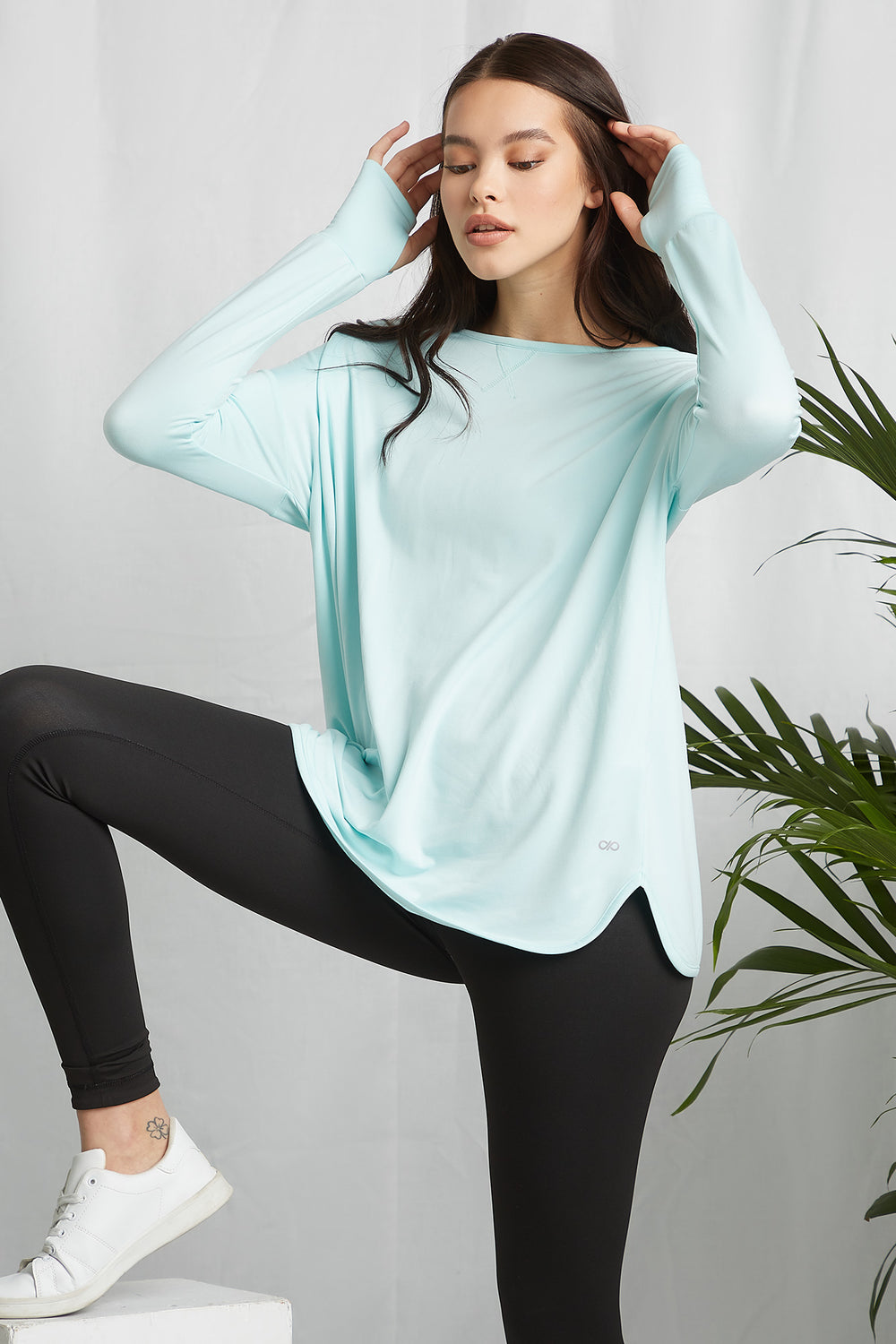 REPREVE®Eco-Friendly Recycled Polyester Keyhole Back Active Long Sleeve Turquoise