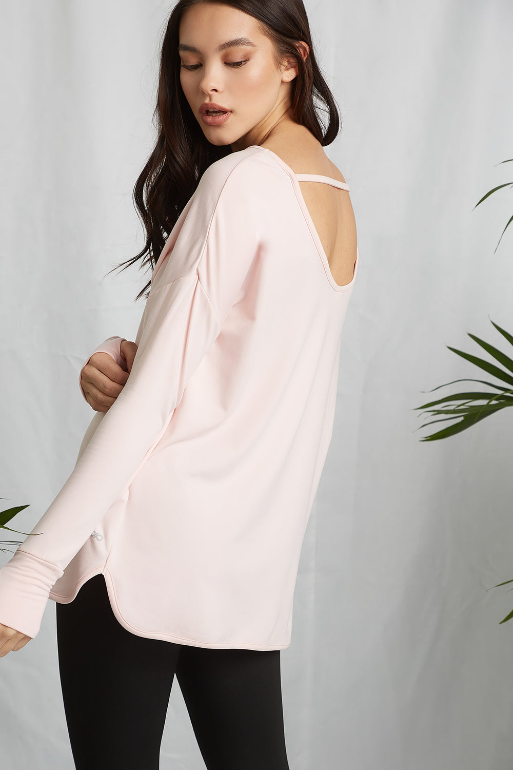 REPREVE®Eco-Friendly Recycled Polyester Keyhole Back Active Long Sleeve Rose