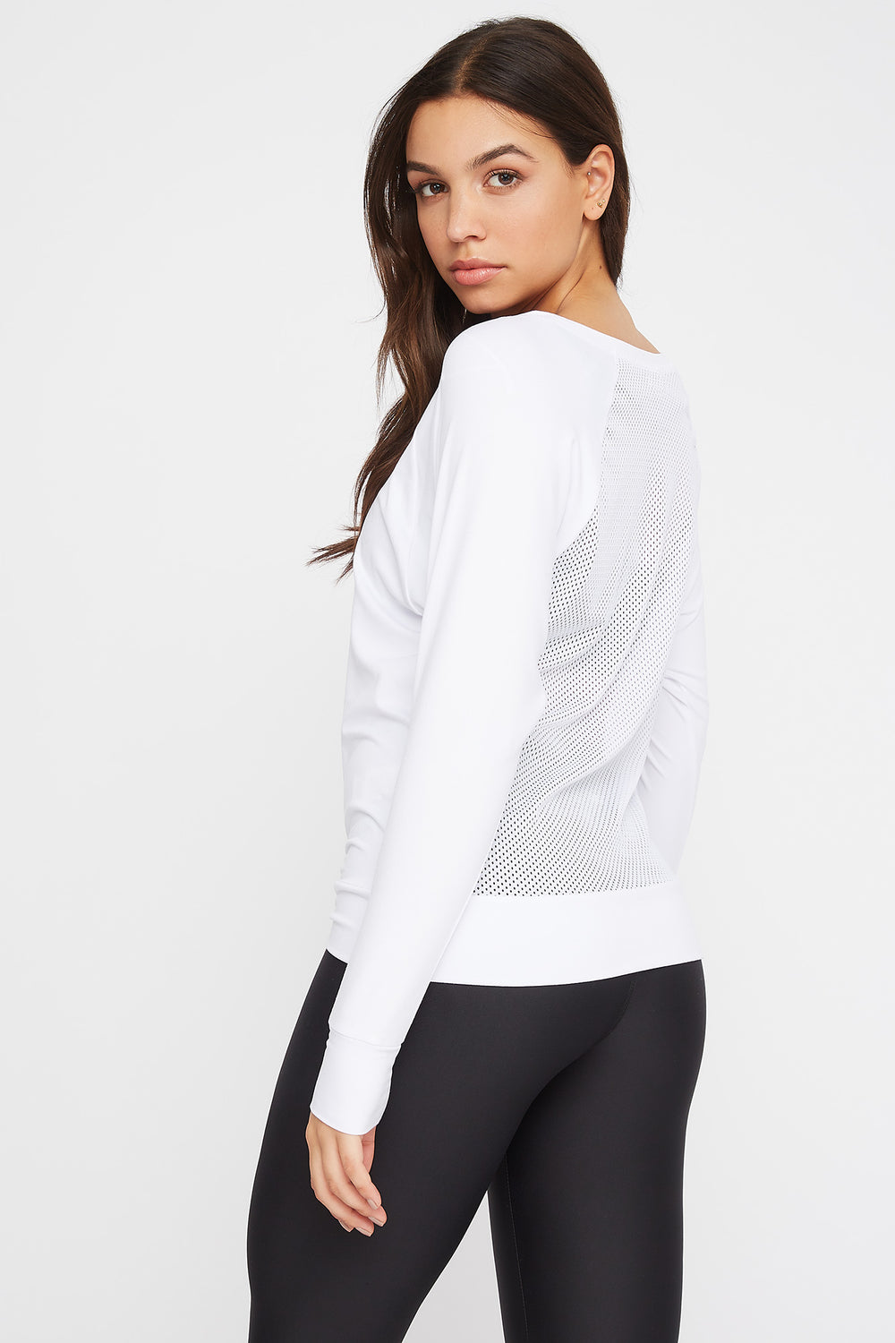 Soft Mesh Back Crewneck Active Long Sleeve White