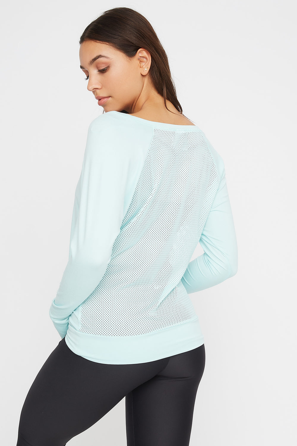 Soft Mesh Back Crewneck Active Long Sleeve Aqua