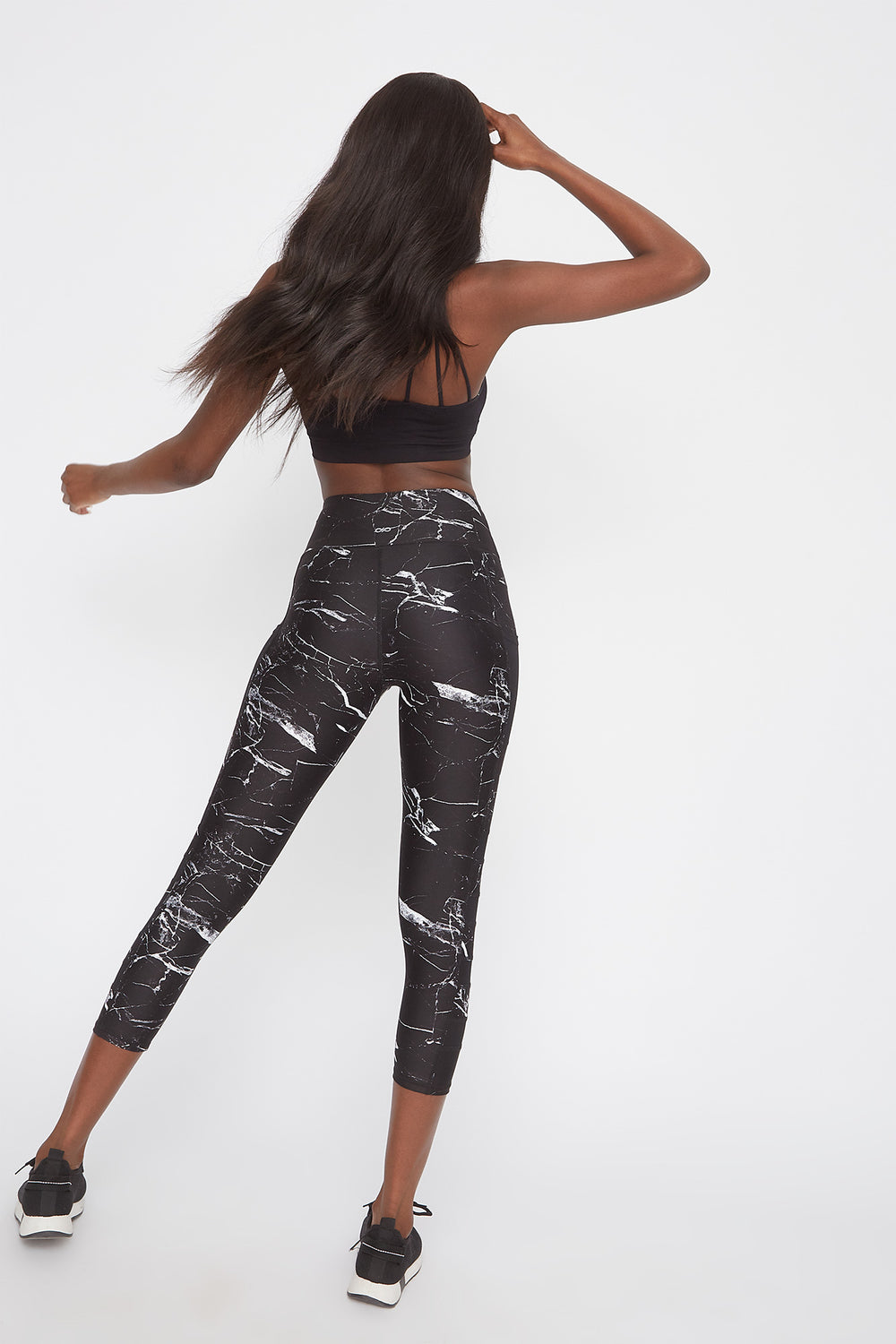 Infinite High-Rise Mesh Insert Cropped Legging Black with White