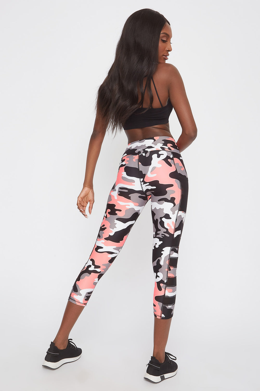 Infinite High-Rise Mesh Insert Cropped Legging Camouflage