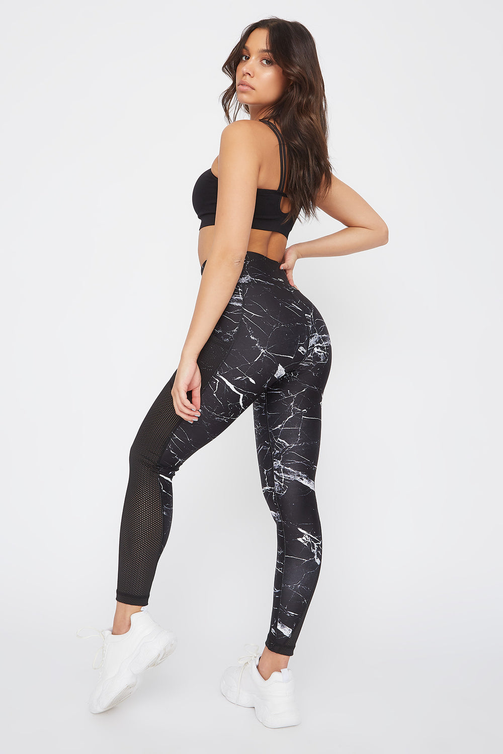 Legging Infinite Active à taille haute avec insertion de filet Noir et blanc