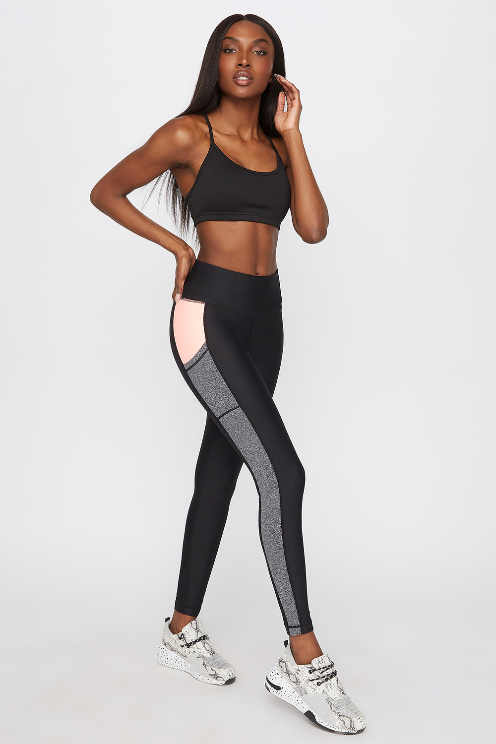Infinite High-Rise Contrast Pocket Legging Neon Pink