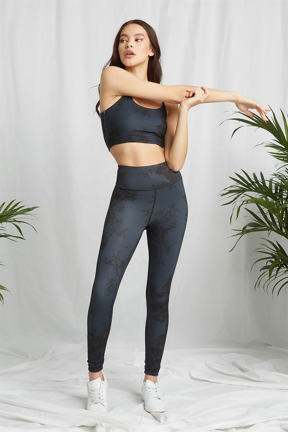 REPREVE® Eco-Friendly Recycled Polyester Reversable Active Legging Dark Grey
