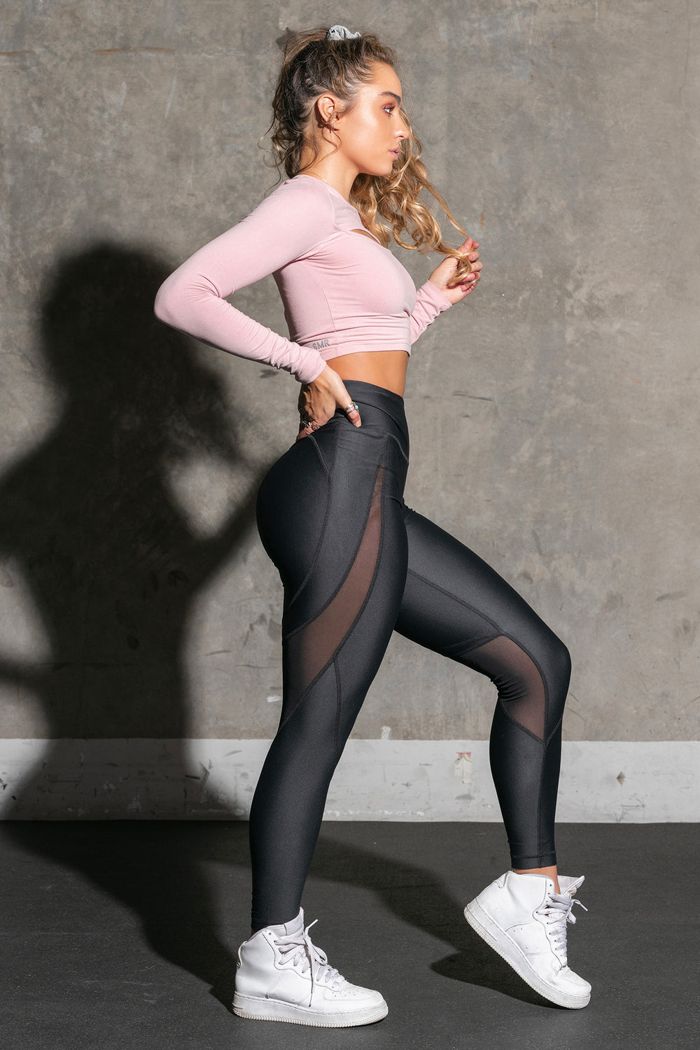 Sommer Ray Mesh Slice Butt Lift Active Legging Black