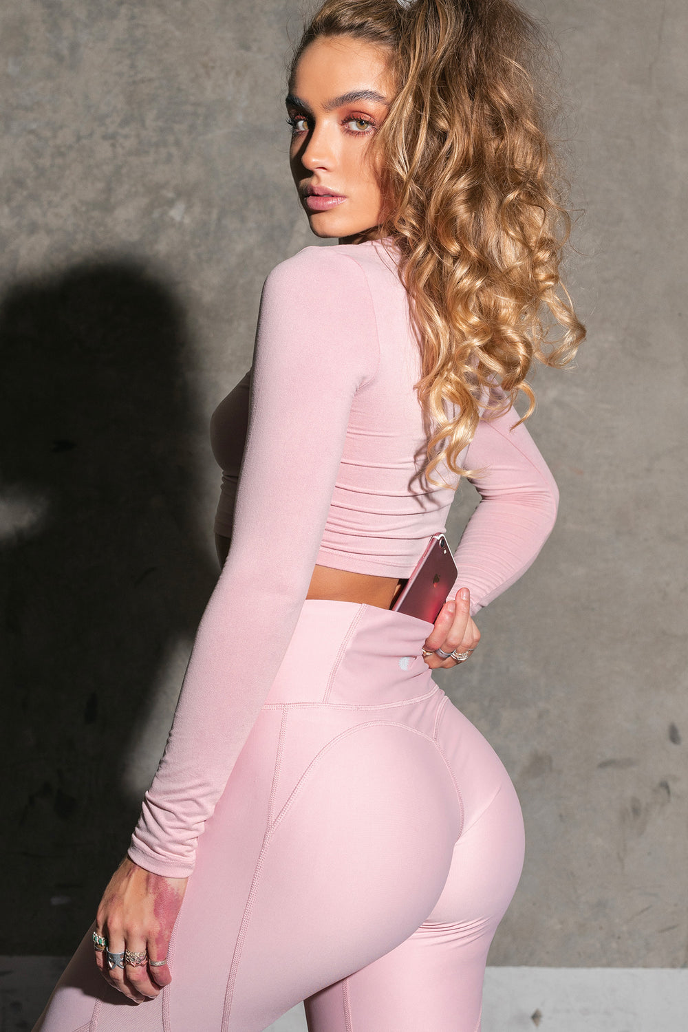 Sommer Ray Mesh Slice Butt Lift Active Legging Dusty Rose