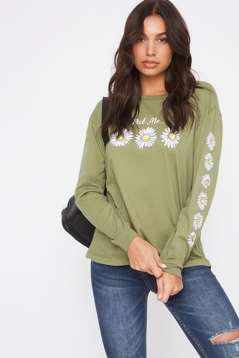 Graphic Daisy Long Sleeve Dark Green