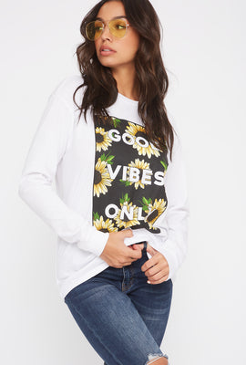 Graphic Good Vibes Only Sunflower Long Sleeve