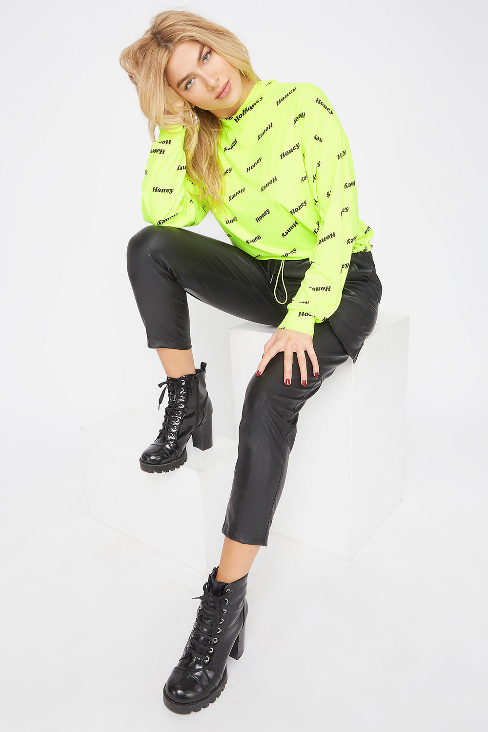Printed Soft Cropped Hoodie Neon Yellow