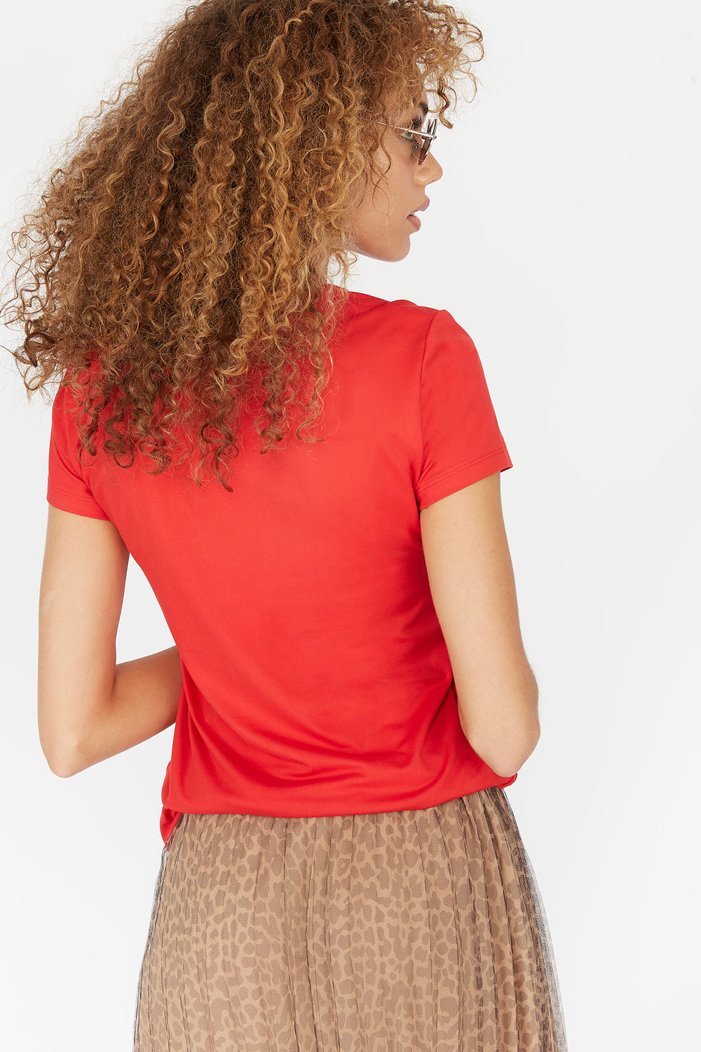 Soft Graphic Printed Back Off T-Shirt Red