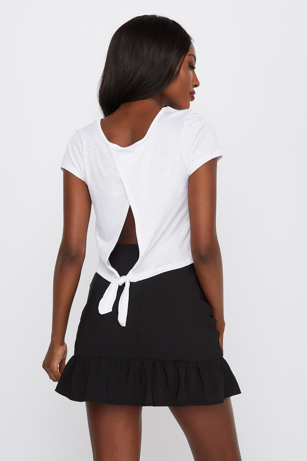 Graphic Lashes Knot Back T-Shirt White