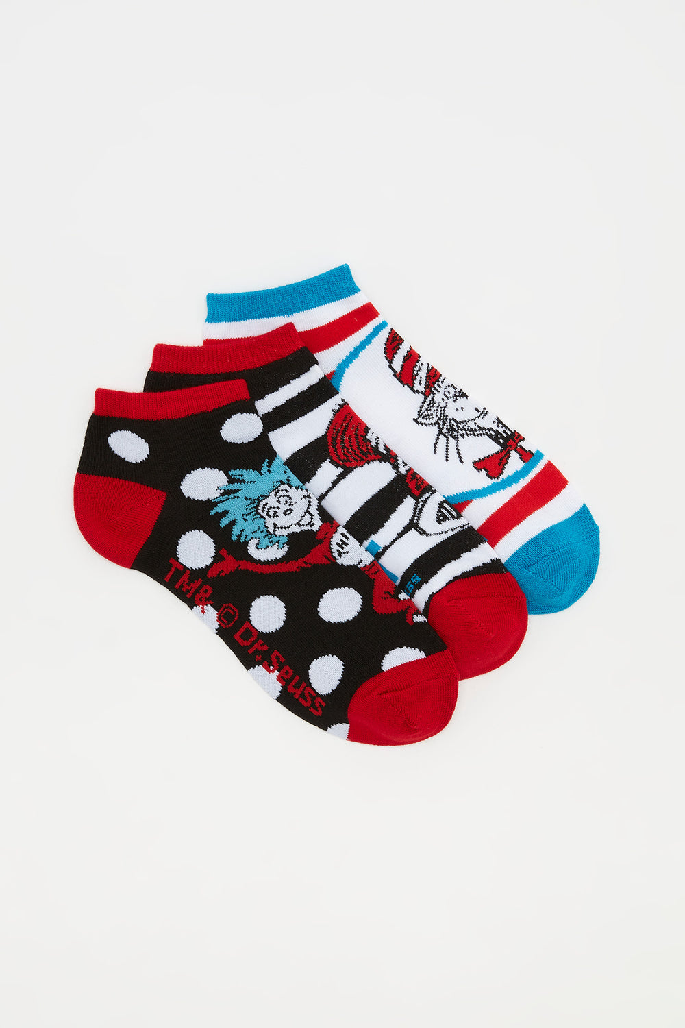 Cat In The Hat Ankle Socks (3 Pairs) Assorted