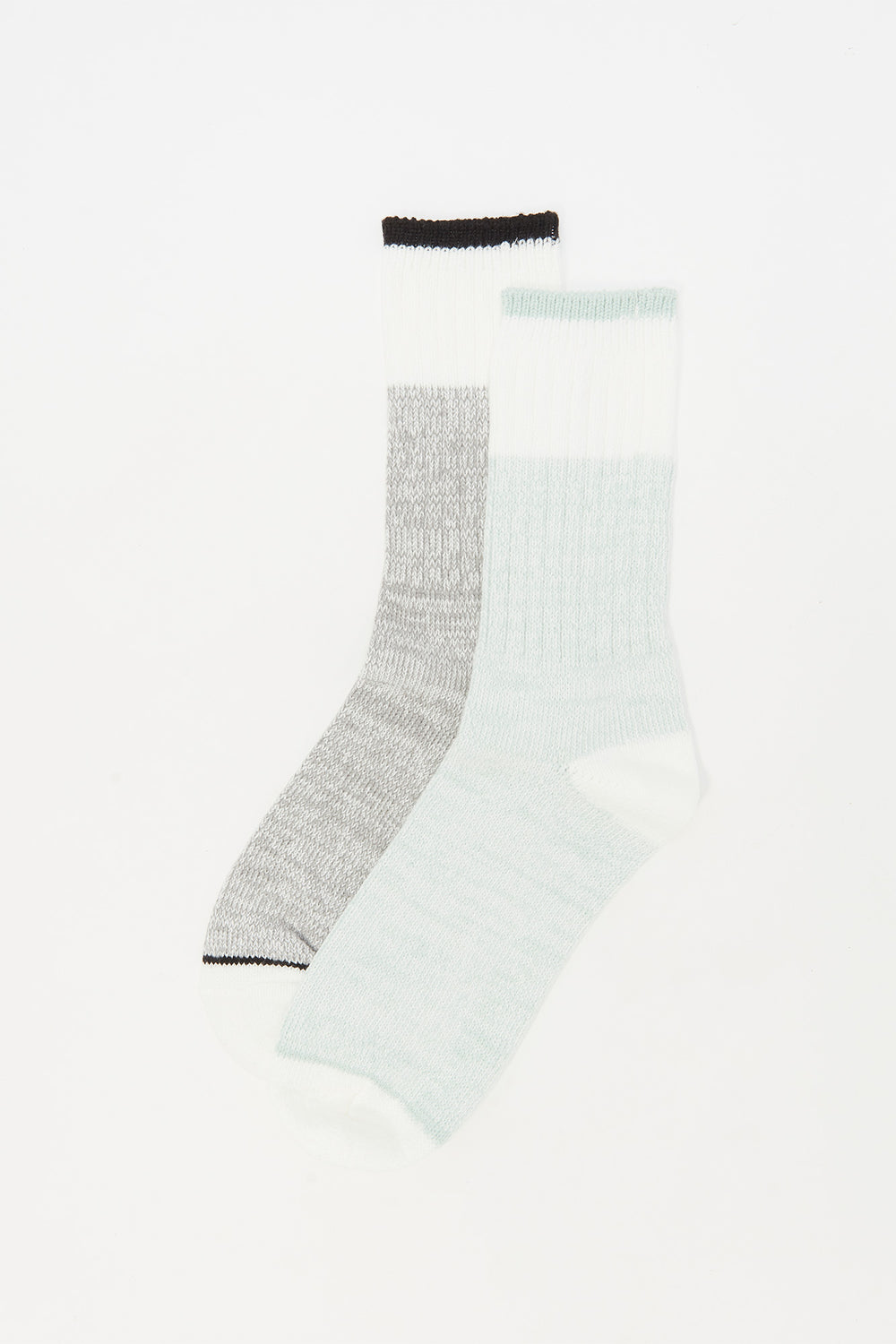 Soft Block Striped Boot Socks (2 Pack) Sage