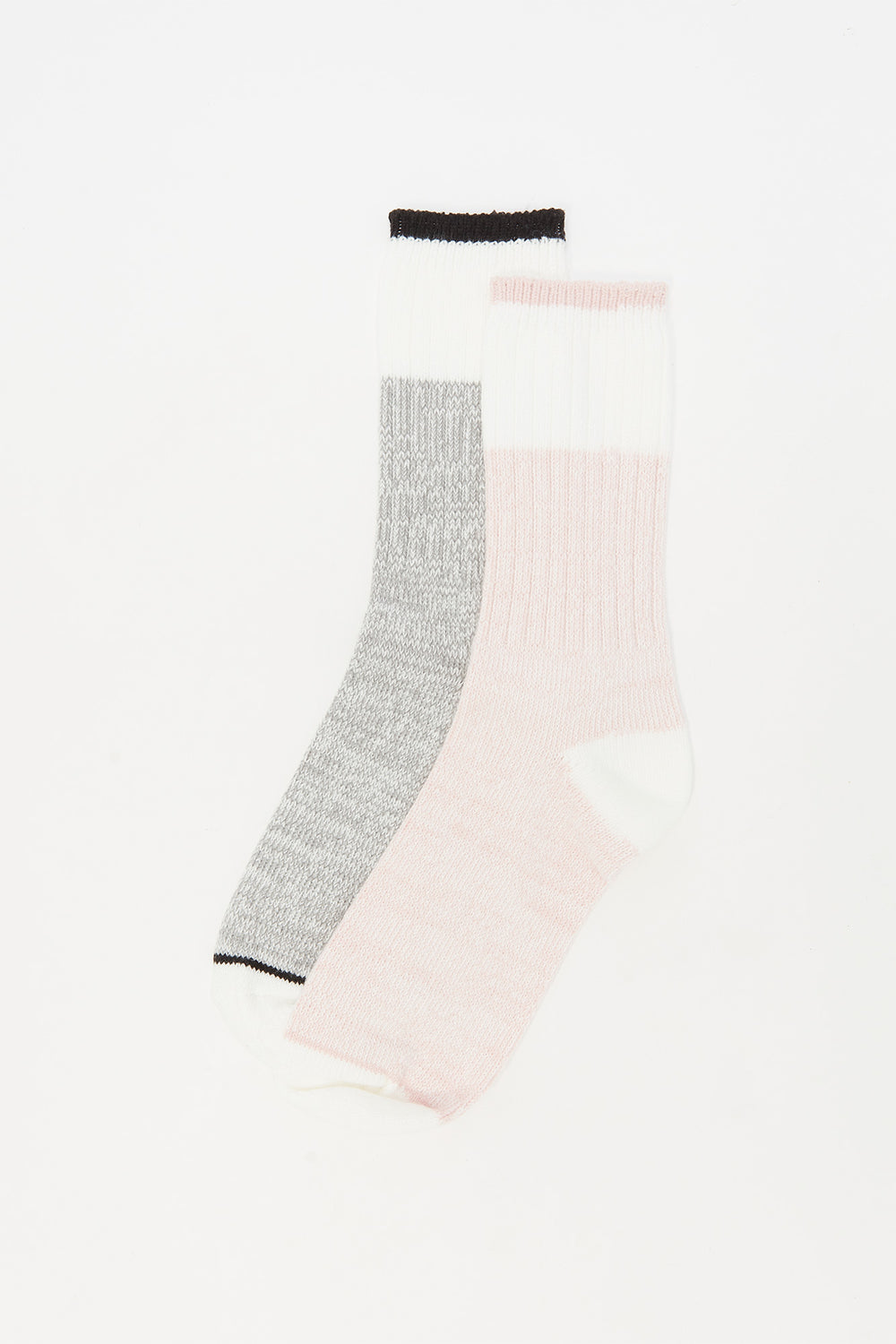 Soft Block Striped Boot Socks (2 Pack) Rose