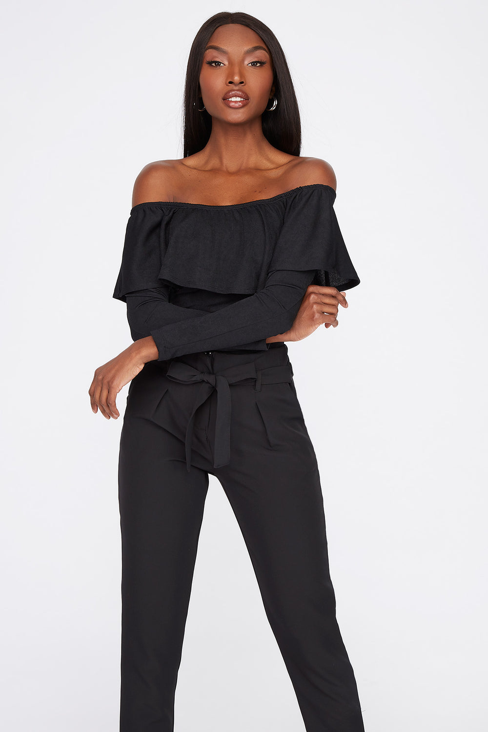 Off the Shoulder Ruffle Long Sleeve Bodysuit Black