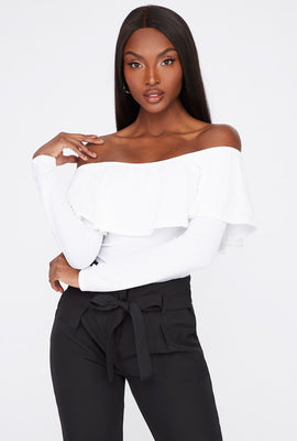 Off the Shoulder Ruffle Long Sleeve Bodysuit