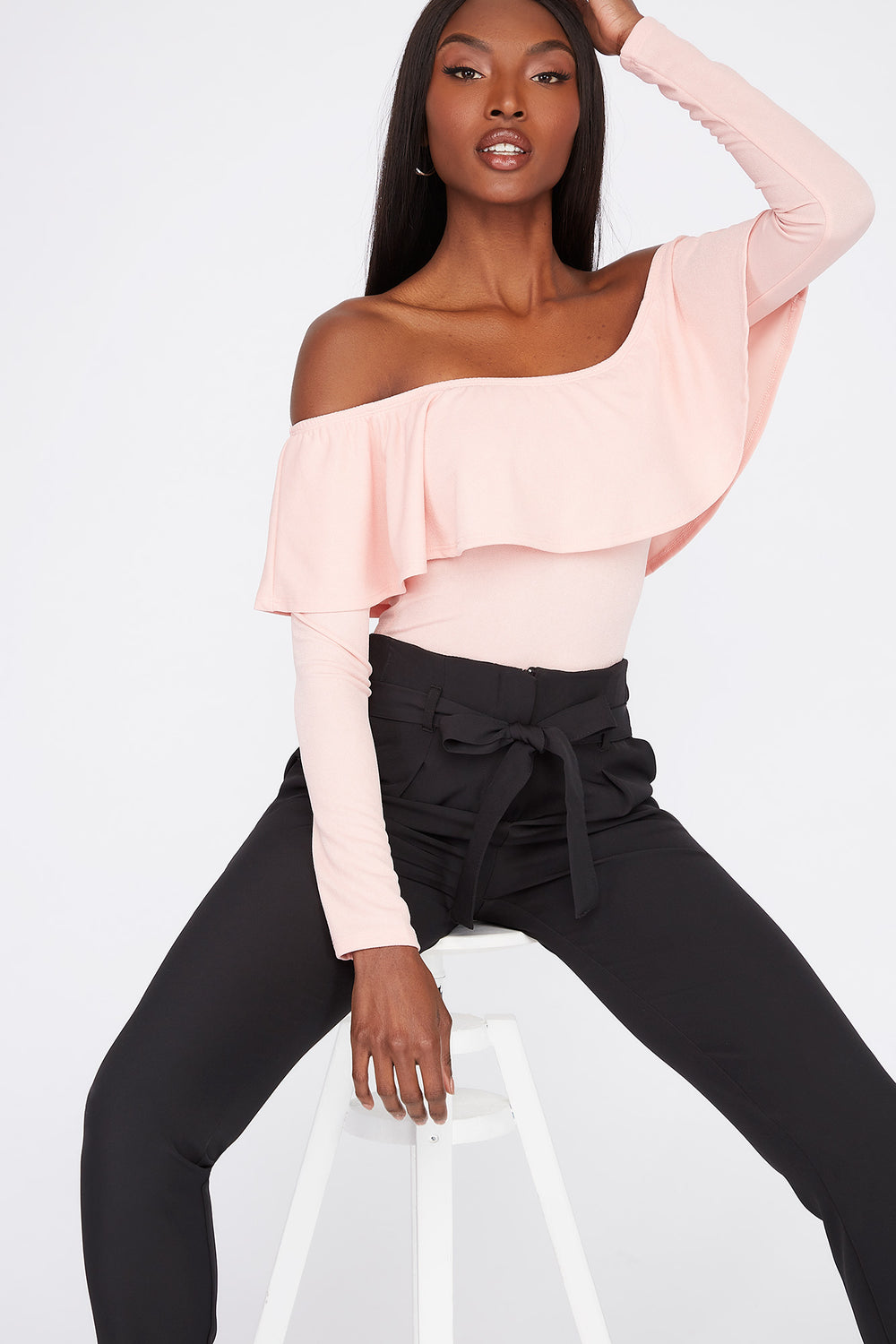Off the Shoulder Ruffle Long Sleeve Bodysuit Rose