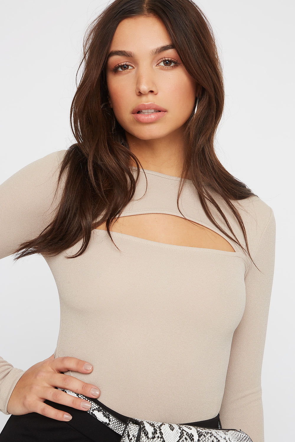 Crepe Cut Out Bodysuit Taupe