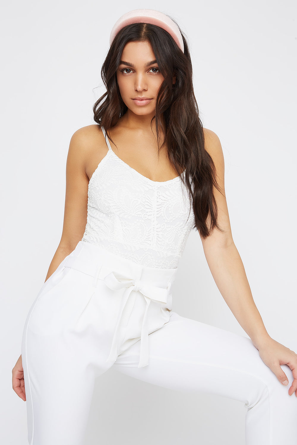 Lace V-Neck Bodysuit White