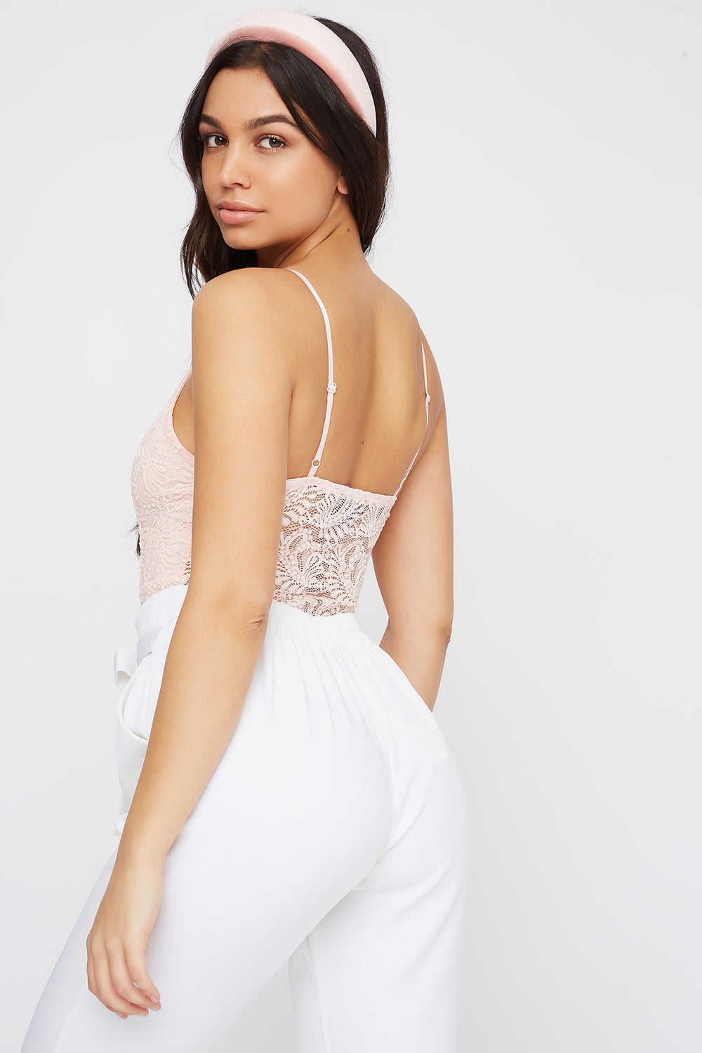 Lace V-Neck Bodysuit Rose