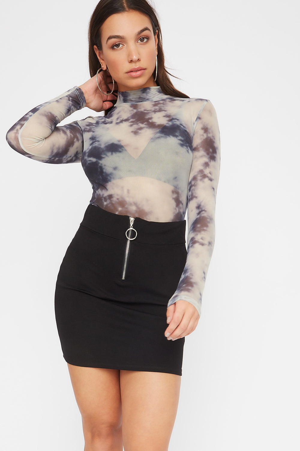 Printed Mesh Long Sleeve Bodysuit Black with White