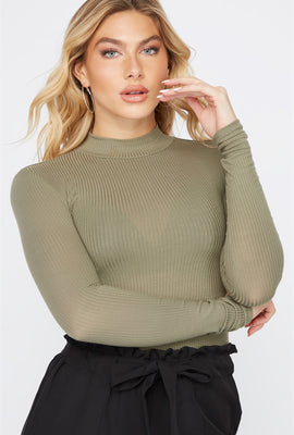 Mock Neck Long Sleeve Bodysuit