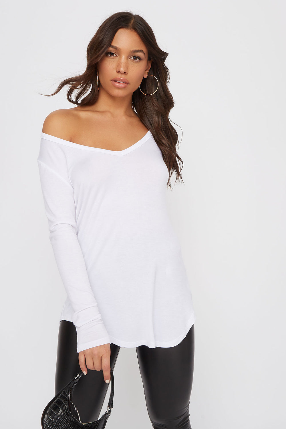 V-Neck Long Sleeve White