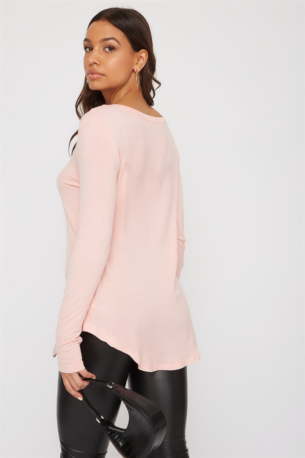 V-Neck Long Sleeve Neon Pink