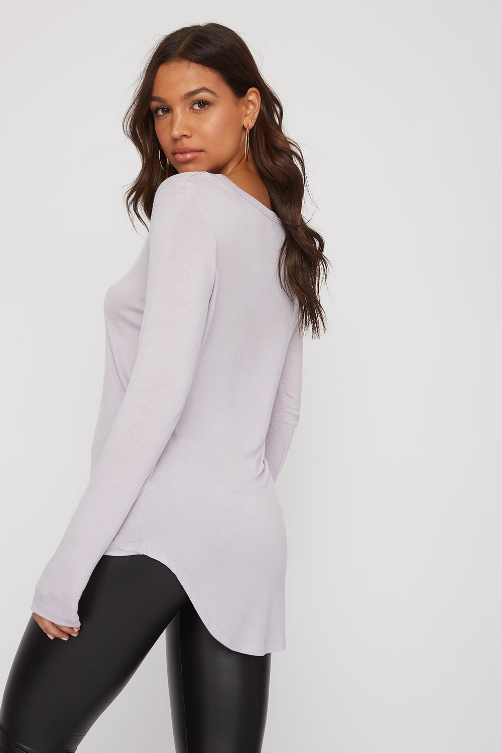 V-Neck Long Sleeve Lilac