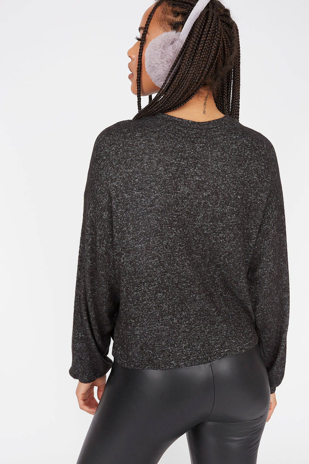 Relaxed Brushed Crew Neck Dolman Sleeve Top Charcoal