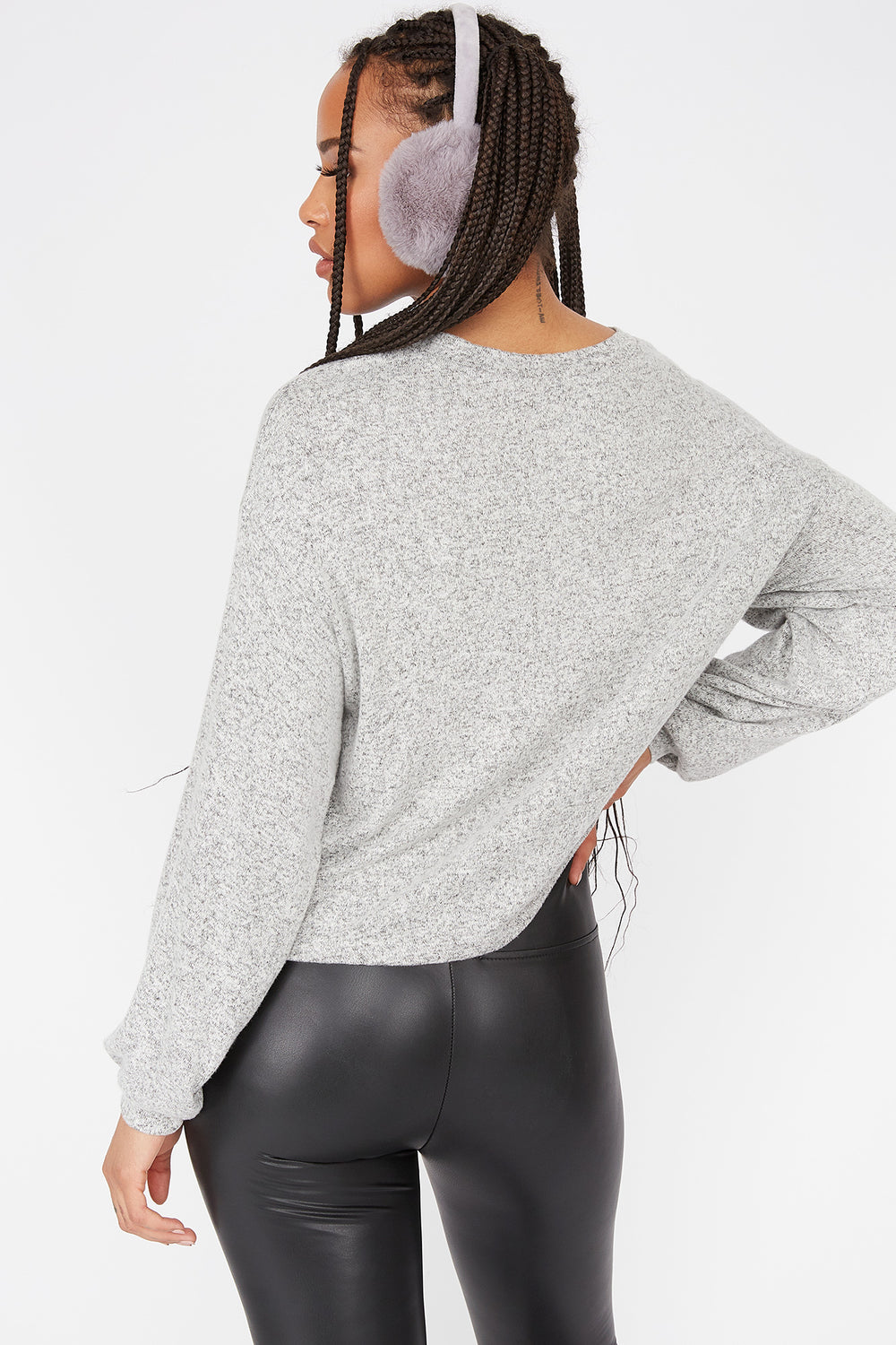 Relaxed Brushed Crew Neck Dolman Sleeve Top Heather Grey