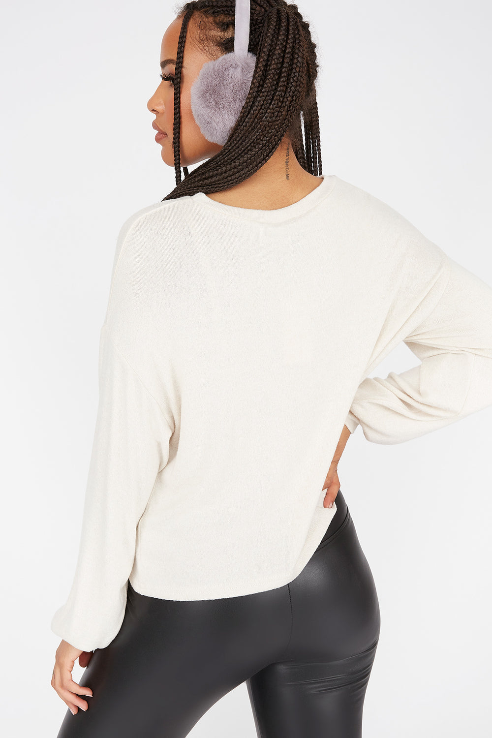 Relaxed Brushed Crew Neck Dolman Sleeve Top Oatmeal