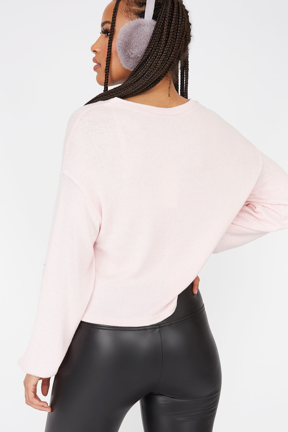 Relaxed Brushed Crew Neck Dolman Sleeve Top Light Pink