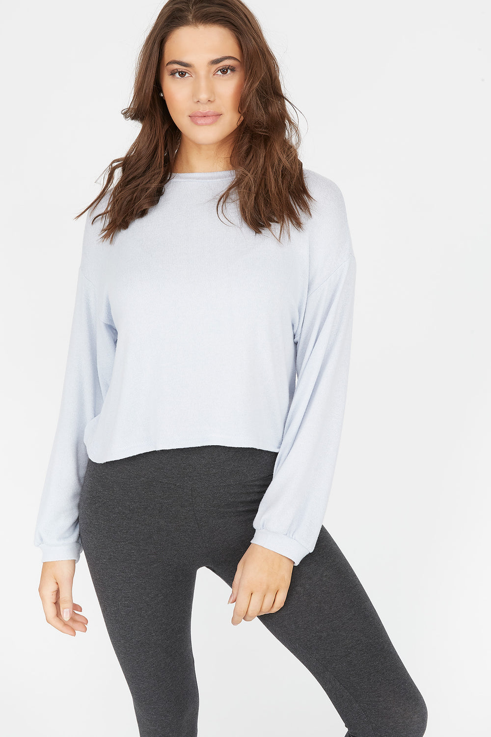 Relaxed Brushed Crew Neck Dolman Sleeve Top Light Blue