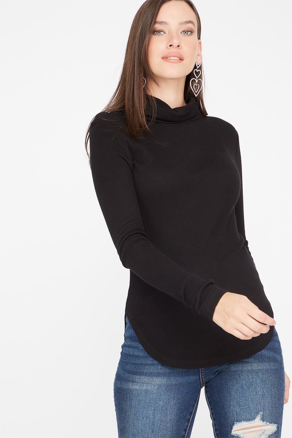 Thermal Turtleneck Long Sleeve Tunic Top Black