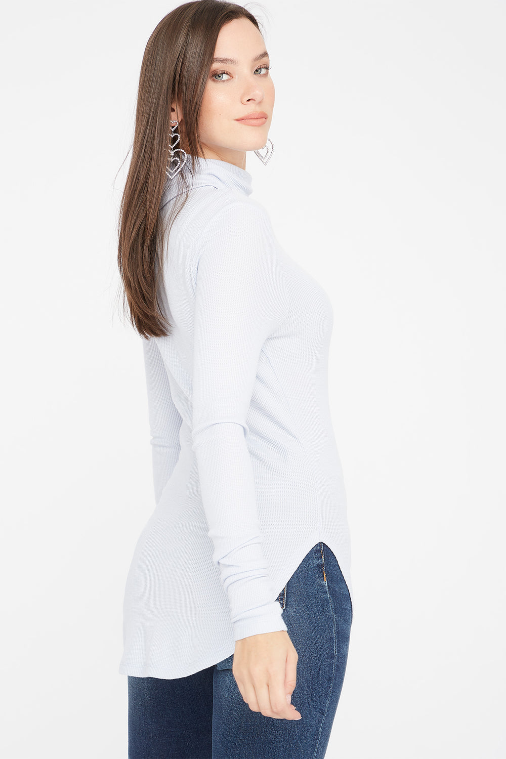 Thermal Turtleneck Long Sleeve Tunic Top Light Blue