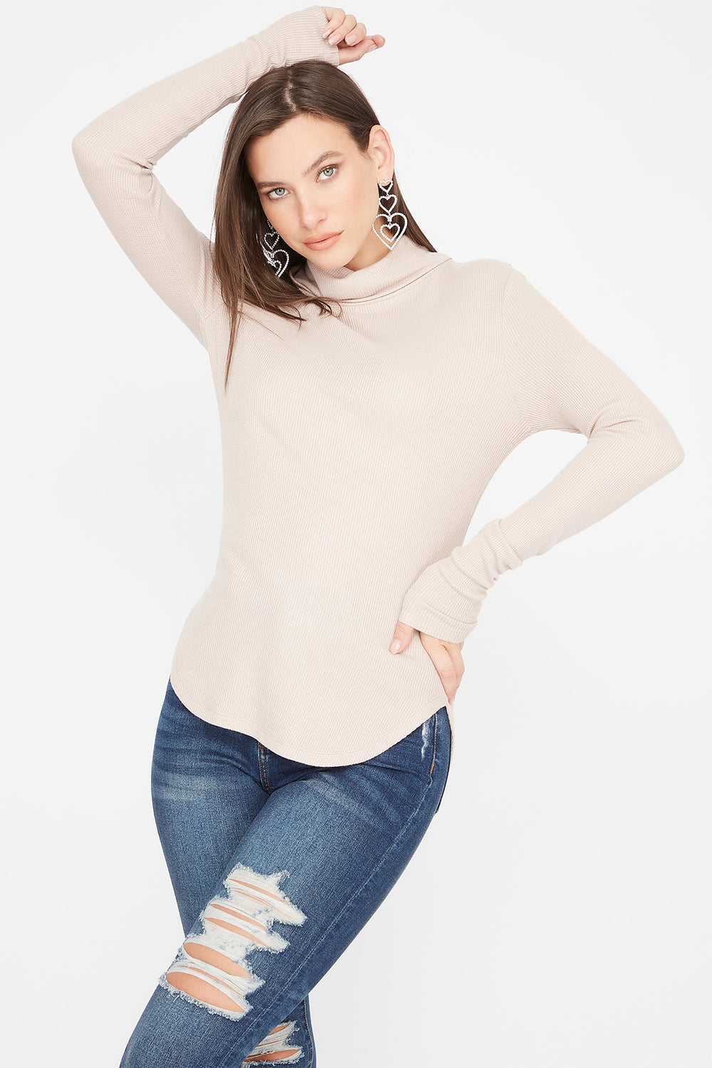 Thermal Turtleneck Long Sleeve Tunic Top Taupe
